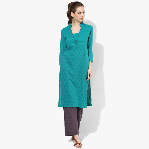 3/4th Slv V-nk Collar Bodice Straight Long Kurta - Indian Dobby