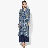 Mock Angrakha with Side Yoke Princess Straight Dabu Kurta - Indian Dobby