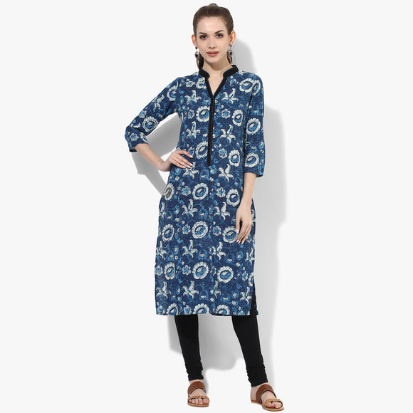 Band Collar Shaped Long Placket Bust Dart Straight Ajrakh Kurta - Indian Dobby