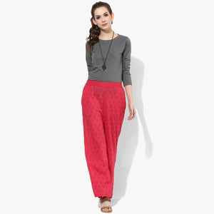 Straight Cotton Dobby Pants with Pockets - Indian Dobby