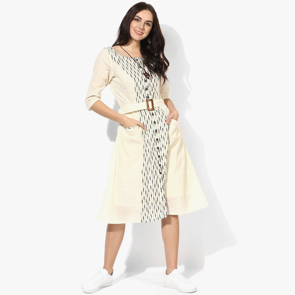 Flared Belted Ikat Dress