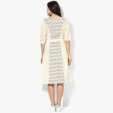 Flared Belted Ikat Dress - Indian Dobby