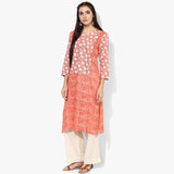Long Yoke Rayon Print Kurta - Indian Dobby