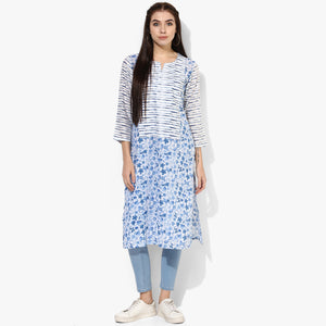 Long Yoke Cambric Print Kurta - Indian Dobby
