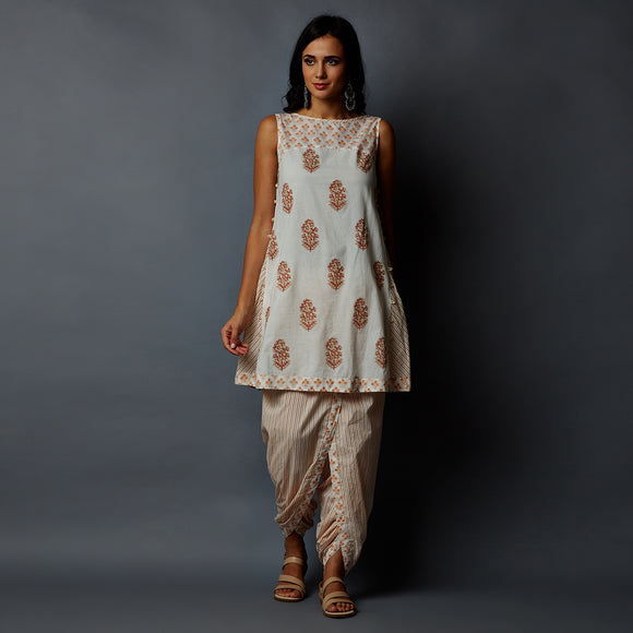 Handblock Print Side Kali Panel Kurta