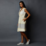 S/l Front Overlap Collar Flared Dress