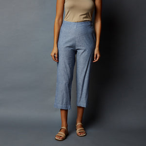 Chambray Straight Cotton Pants