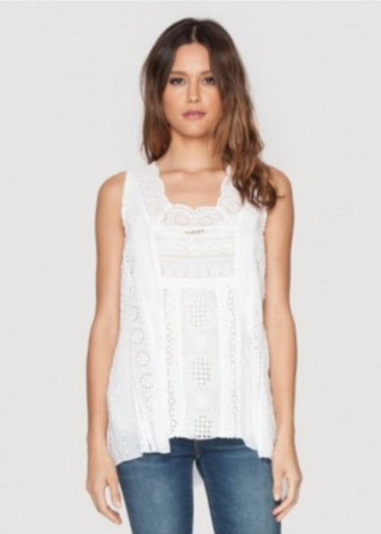 Johnny Was Embroidered Crochet Tank