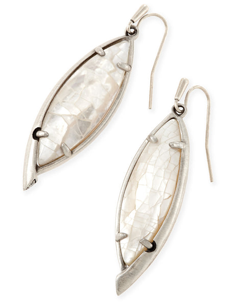 Kendra Scott Maxwell Earrings Crackle Ivory Pearl