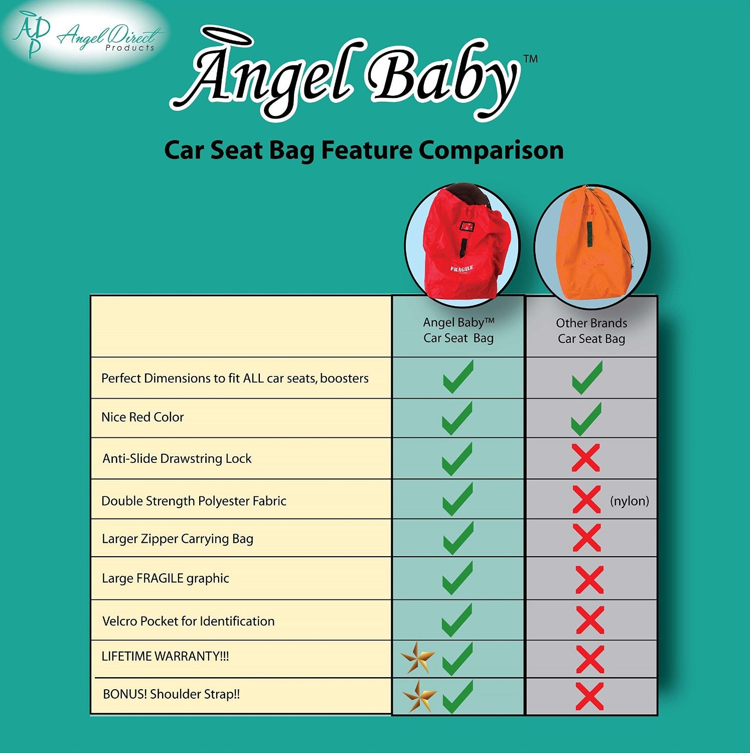 Angel Baby Red Polyester Car Seat Travel Bag - Angel Direct Products - 3