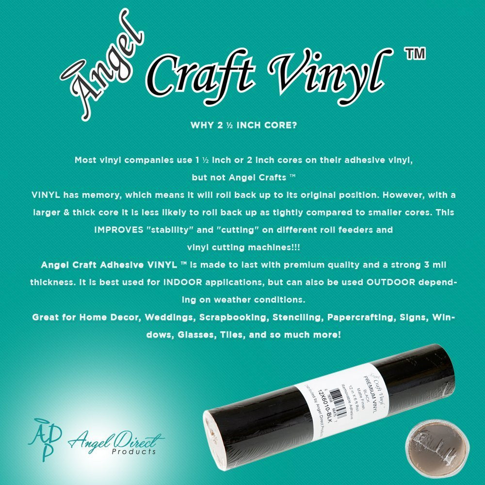 "Angel Crafts 12"" by 8' Self Adhesive Vinyl Roll - Angel Direct Products - 6"