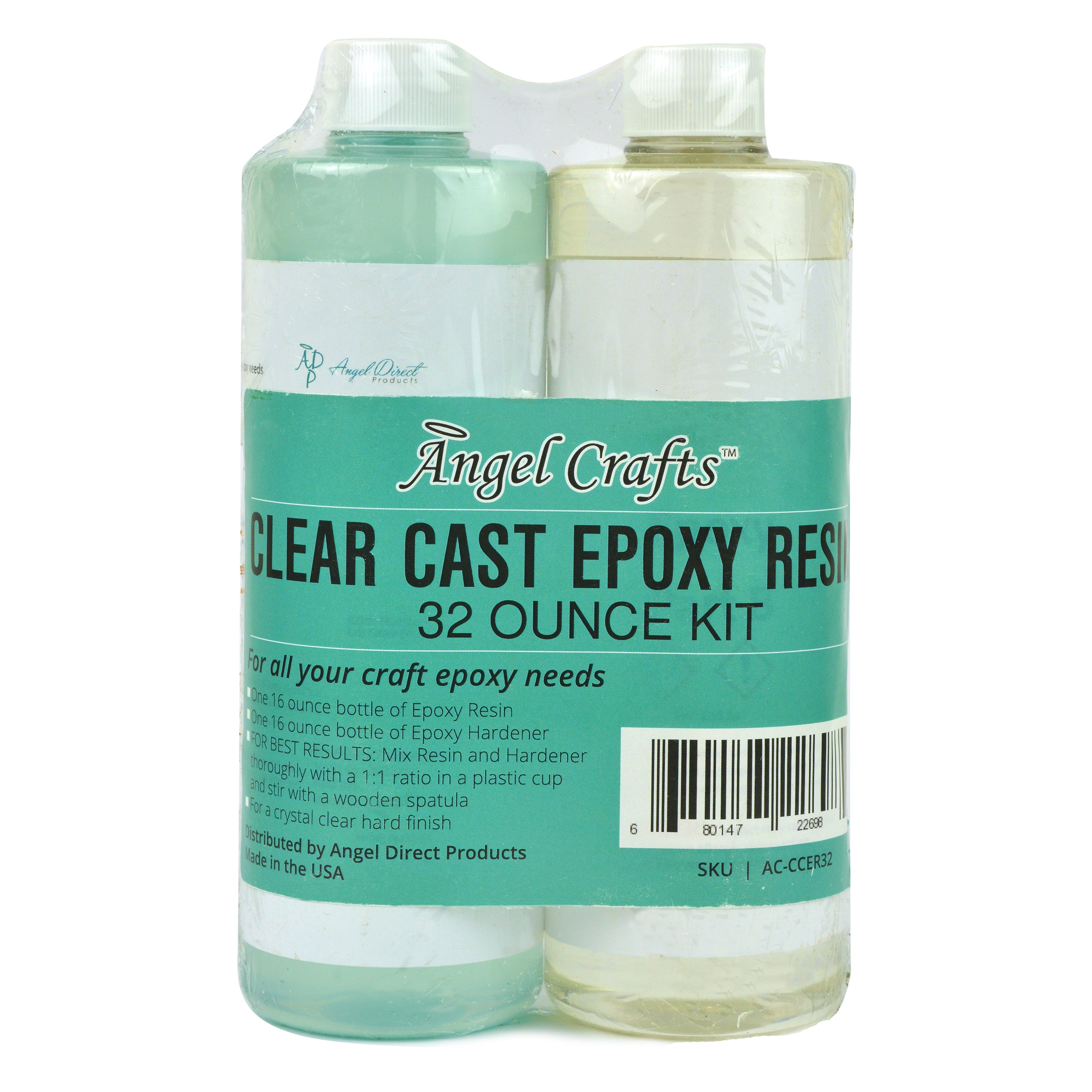 Angel Crafts Clear Casting EPOXY Resin & Hardener (32oz) Mix Kit