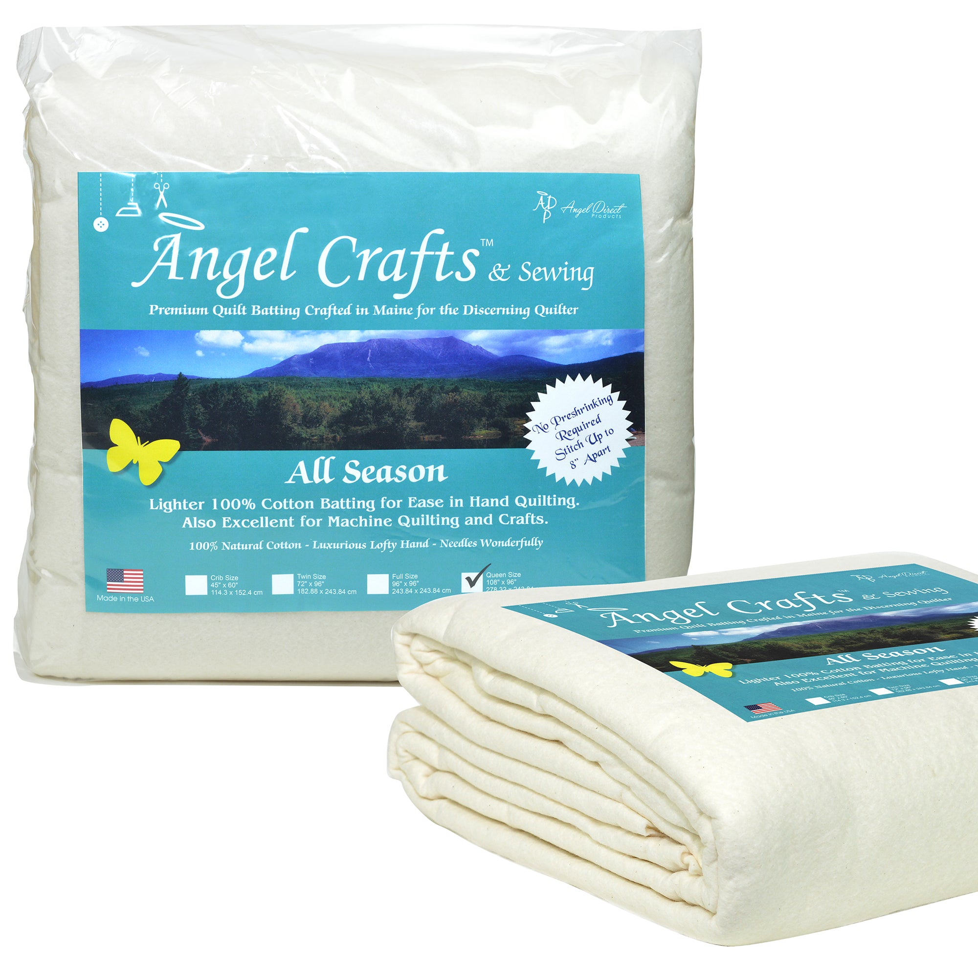 "Angel Crafts & Sewing PREMIUM 100% NATURAL Cotton Batting for Quilts - Queen Size (108"" x 96"") - BEST All Season Low Loft Fabric Roll for Upholstery, Quilting, Applique, Pillows"