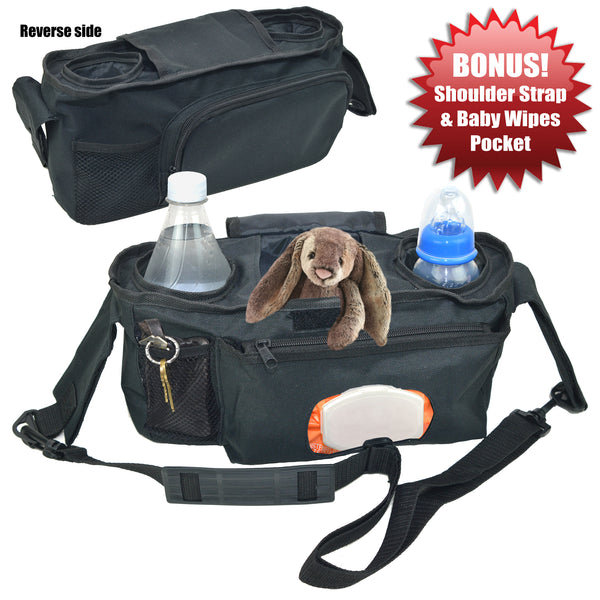 Angel Baby Premium Stroller Organizer with Cup Holders (Double Insulated), Easy Access wipes Pockets, Large Storage Accessories Bag for Moms