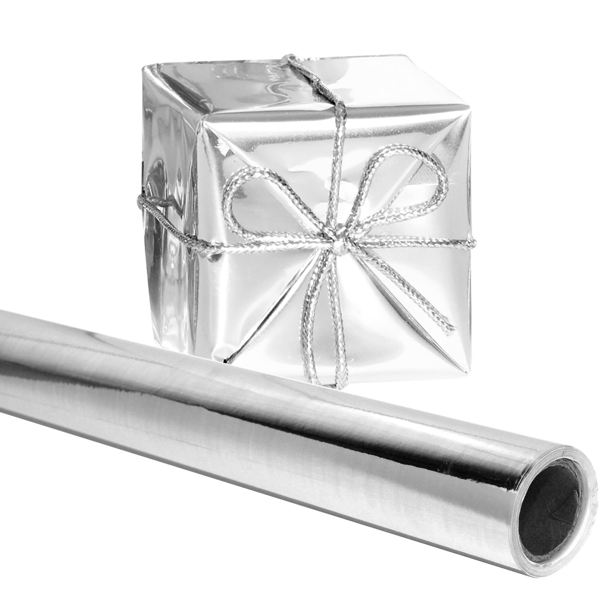 "Angel Crafts Gift Wrapping Paper 26"" x 25 Ft Roll, SILVER - Thick Shiny Metallic Deco Wrap Foil for Presents, Origami, Weddings, Embossing"