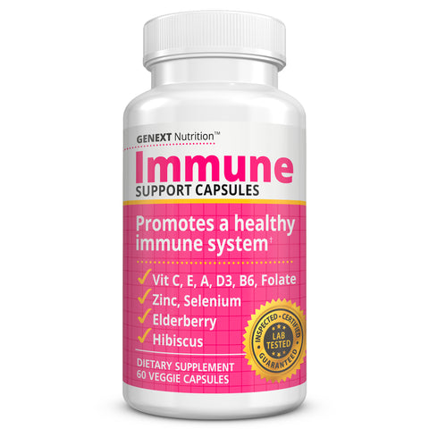 IMMUNE SUPPORT CAPS - Boost Your Immune System Defense with Vitamins C, D3, A, E, Zinc, Selenium, Elderberry, Hibiscus.