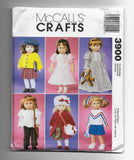 "18"" Dolls Clothes Wardrobes McCalls Crafts 3900 Sewing Pattern / Uncut"