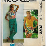 Size Large, Vintage 1980s Women's Pants and Shorts Sewing Pattern McCalls 7072