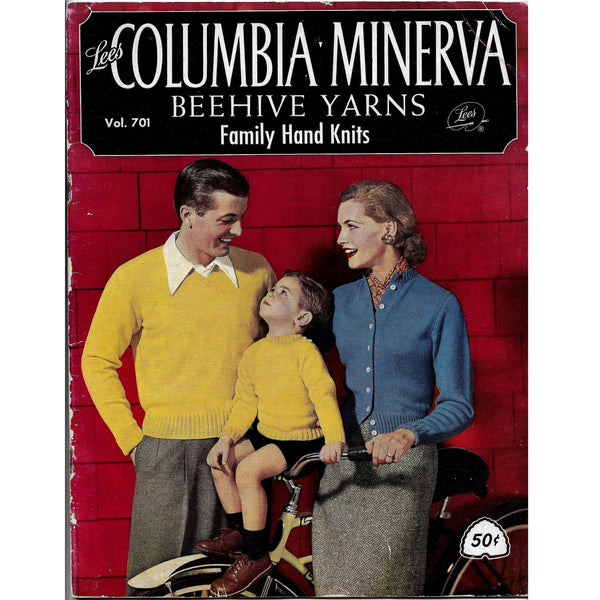 Vintage 1950s 1st Edition Columbia Minerva Family Hand Knits Patterns Booklet Vol 701
