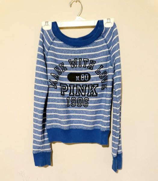 Size  S/P, PINK Victoria's Secret Blue White Pullover Knit Top