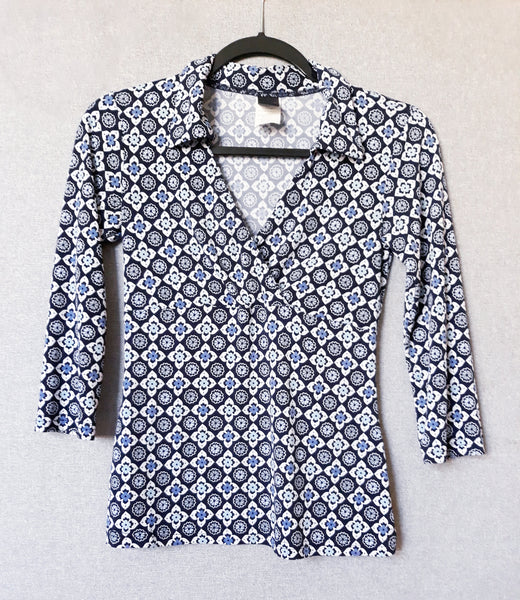 Small Wrapper Blue Flowers Blouse Top, 3/4 Sleeves