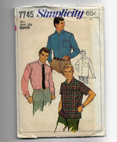 Size 36 Chest Vintage 60s Men's Tapered Sport Shirts Simplicity 7745 Sewing Pattern