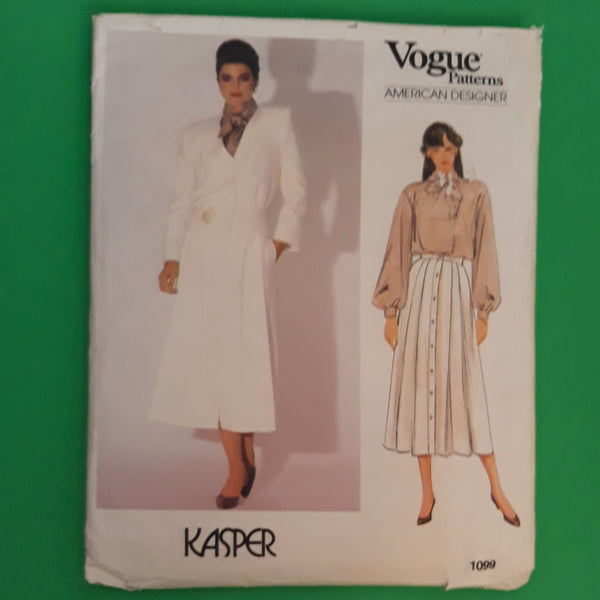 80s Kasper Jacket Skirt Blouse - Vintage Vogue American Designer 1099 Sewing Pattern Size 12