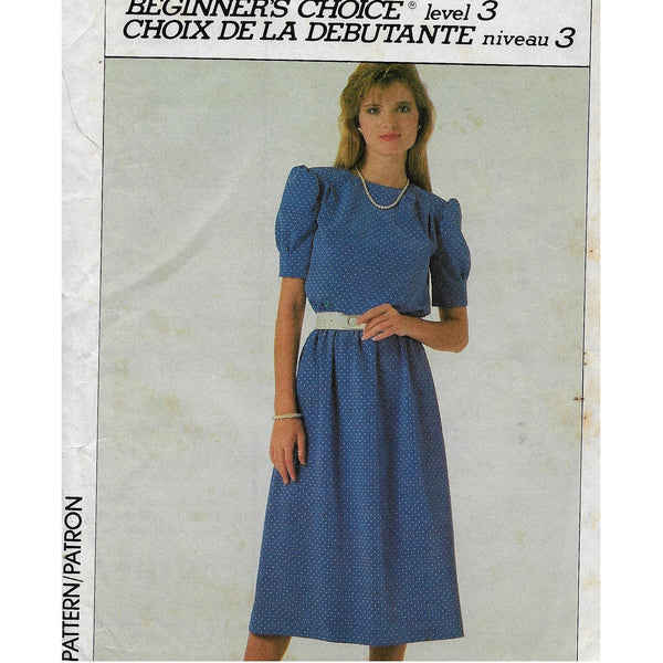 Size 18 - Vintage 80s Women Dress Sewing Pattern Simplicity 7907 / Uncut
