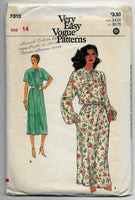 Size 14 - 1980s Women Dresses Very Easy Vogue Patterns 7313 Vintage Sewing Pattern