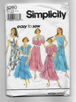 Size 8-14, Women's 90s Gored Skirt Dresses and Tie Belt Sewing Pattern, Simplicity 8290 / Uncut