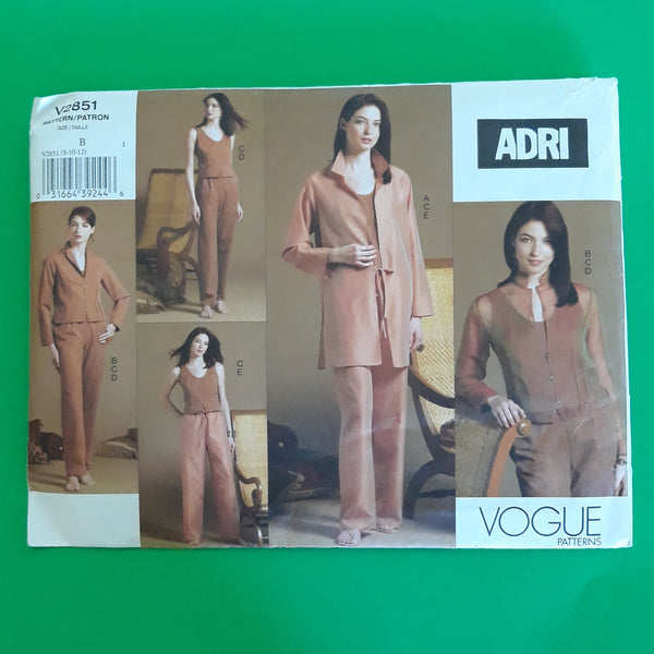 ADRI Vogue V2851 Shirt-Jacket, Jacket, Top & Pants Sewing Pattern, Sizes 8-10-12 /Uncut