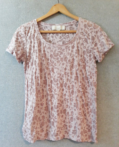 Petite Med, LOFT Anne Taylor Semi Sheer Floral Shirt Light Mauve