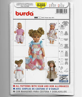 Burda 8308 Dolls Clothes Sizes 12-14-16-18 Inches Sewing Pattern Uncut