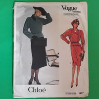Vintage 80s Chloe Peplum Jacket Skirt Vogue Paris Original 1427 Sewing Pattern, Size 10