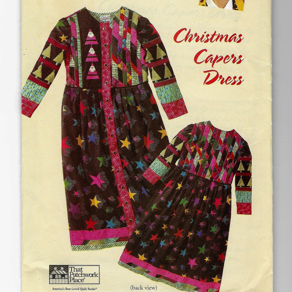 Christmas Capers Patchwork Dress, Judy Murrah Originals Sewing Pattern, That Patchwork Place P129 Uncut