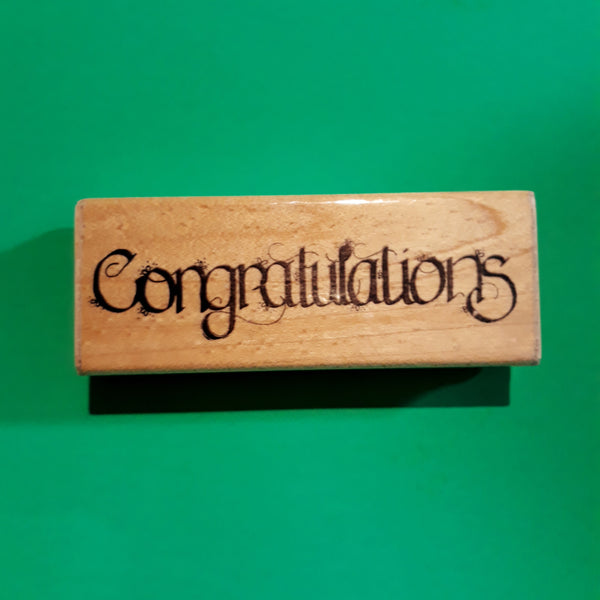 Congratulations - Calligraphy Wood Mount Rubber Stamp, Retired DOTS P136