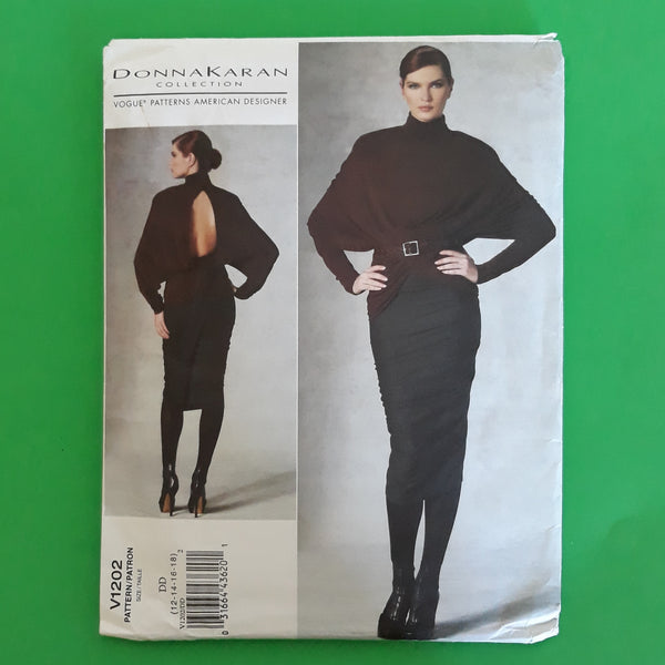Donna Karan Vogue American Designer V1202 Dolman Top & Mock Wrapped Skirt Sewing Pattern Sizes 12-18 Uncut