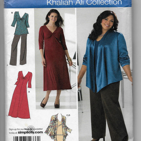 Size 10-18, Khaliah Ali Collection Women's Skirt, Pants, Jacket, Knit Dress Sewing Pattern, Simplicity 2336 /Uncut