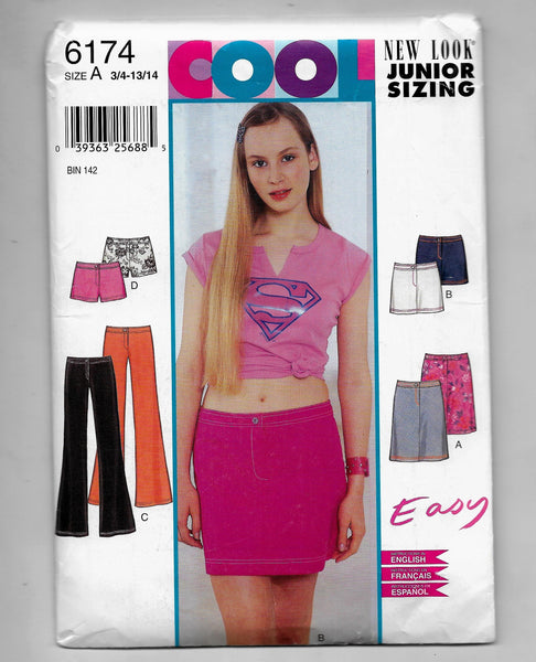 Junior Size 3/4-13/14, NewLook 6174 Skirts Pants Shorts, Easy Sewing Pattern, Uncut