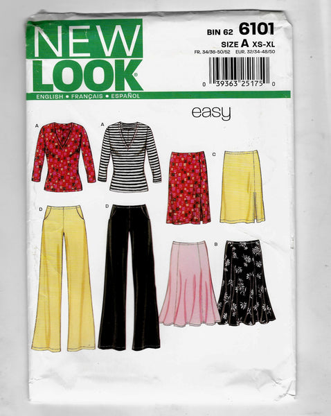 Size XS-XL, Easy New Look 6101 for Stretch Knit 3/4 Sleeves Top, Skirts, Pants Sewing Pattern / Uncut