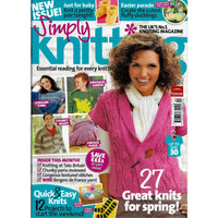 Simply Knitting Magazine April 2010 Back Issue - 27 Patterns for Spring Projects