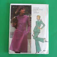 Vintage 70s Teal Traina Dress Tunic Pants - Vogue Americana 2812 Sewing Pattern, Size 18