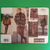 Vintage 90s Vogue Sport 1213 - Women Jacket, Poncho, Dress, Top, Skirt & Pants - Sewing Pattern Size 12-14-16 Uncut