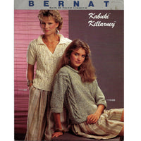 Vintage 80s Pullover Sweaters Knit Patterns Kabuki Killarney - Bernat 529
