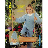 Bobbles In Blues Kids Aran Stitches Sweater-Jacket and Hat Knitting Patterns 127117