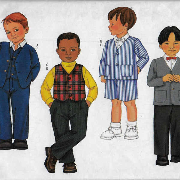 Boys Toddlers Sizes 2 3 4 5 Suits - Jackets Vest Shorts Pants Sewing Pattern Butterick 6894 /Uncut