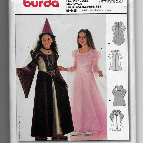 Medieval Fairy Tale Princesses Costumes, Burda 2463 Sewing Pattern Girls Sizes 6-12 Uncut