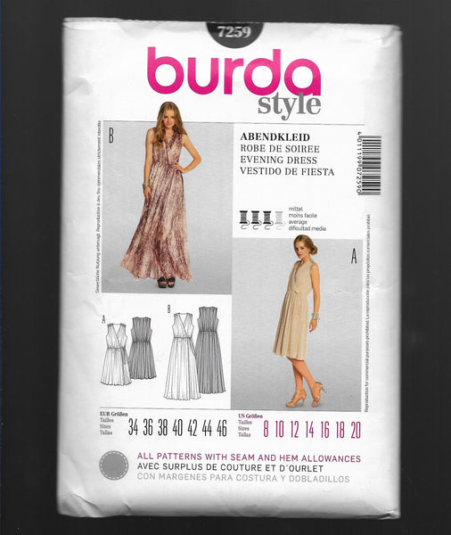 Sizes 8-20, Burda 7259 Sleeveless Evening Dresses Sewing Pattern / Uncut