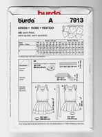 Size 6-18, Burda 7913 Sassy Low-waist Sleeveless Dresses Sewing Pattern, Uncut
