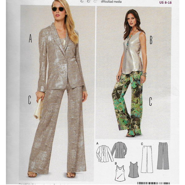 Size 8-18 Burda 6774 Women Sleek Blazer Jacket Top Wide-Legged Pants Sewing Pattern /Uncut